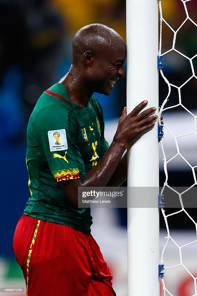 <a gi-track='captionPersonalityLinkClicked' href=/galleries/search?phrase=Pierre+Webo&family=editorial&specificpeople=790636 ng-click='$event.stopPropagation()'>Pierre Webo</a> of Cameroon reacts late in the game during the 2014 FIFA World Cup Brazil Group A match between Cameroon and Croatia at Arena Amazonia on June 18, 2014 in Manaus, Brazil.