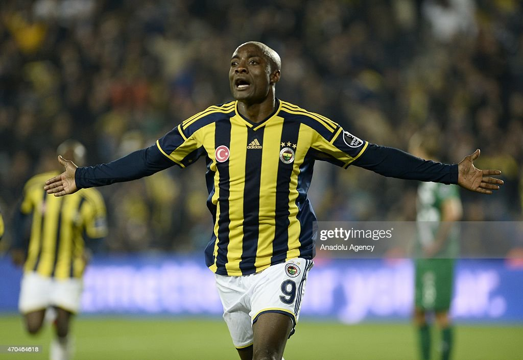 <a gi-track='captionPersonalityLinkClicked' href=/galleries/search?phrase=Pierre+Webo&family=editorial&specificpeople=790636 ng-click='$event.stopPropagation()'>Pierre Webo</a> (9) of Fenerbahce celebrates his score with his team mates during the Turkish Spor Toto Super League football match between Fenerbahce and Bursaspor at Sukru Saracoglu Stadium in Istanbul, Turkey on April 20, 2015.