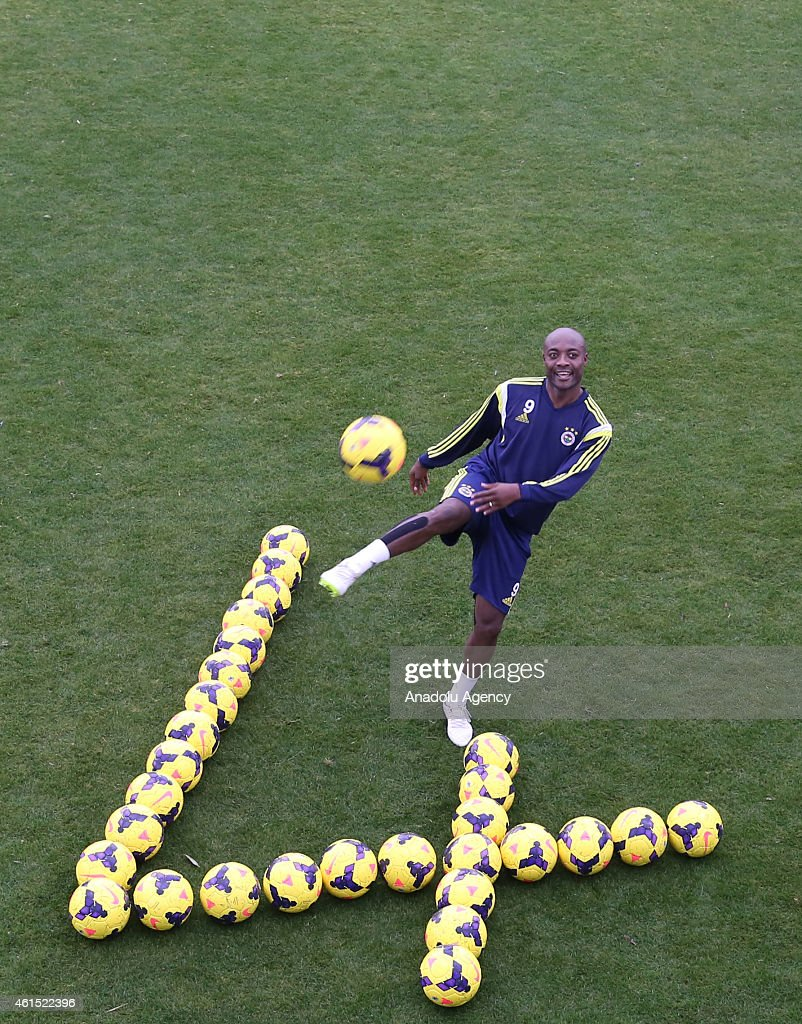 <a gi-track='captionPersonalityLinkClicked' href=/galleries/search?phrase=Pierre+Webo&family=editorial&specificpeople=790636 ng-click='$event.stopPropagation()'>Pierre Webo</a> of Fenerbahce poses after the team's training camp in Antalya, Turkey on January 13, 2015.