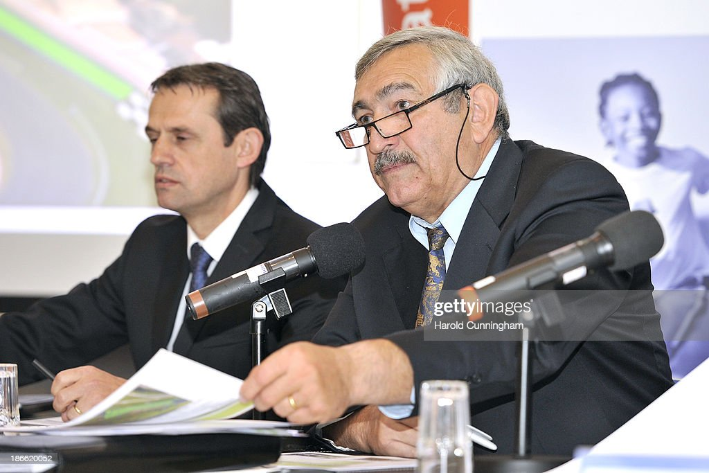 Pierre Weiss looks on as Paray-le-Monial bid to host the 2015 European Cross Country Championships during the European Athletics event allocations as part the European Athletics council meeting on November 2, 2013 in Zurich, Switzerland.