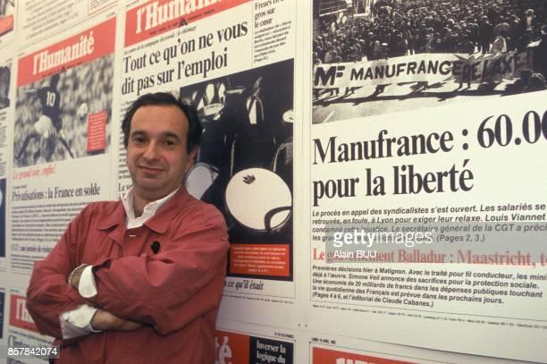 Pierre Zarka membre du secretariat du PCF a la Fete de l'Humanite le 12 septembre 1993 a La Courneuve France