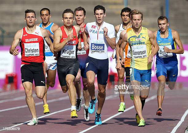 PierreAmbroise Bosse of France competes in the heats of the Men's 800m during day one of The European Athletics U23 Championships 2013 on July 11...