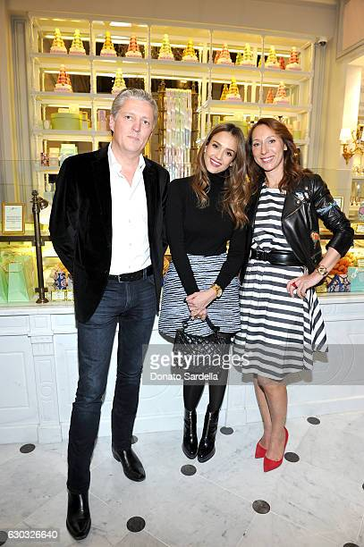 PierreAntoine Raberin actress Jessica Alba and Ladurée copresident Elisabeth Holder Raberin attend the opening of Laduree at The Grove in Los Angeles...