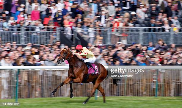 PierreCharles Boudot riding National Defense winThe Qatar Prix JeranLuc Lagardere at Chantilly racecourse on October 02 2016 in Chantilly France