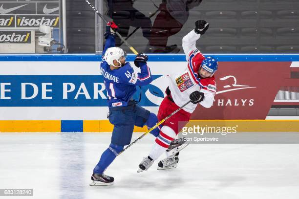 PierreEdouard Bellemare clashes with Radko Gudas during the Ice Hockey World Championship between France and Czech Republic at AccorHotels Arena in...