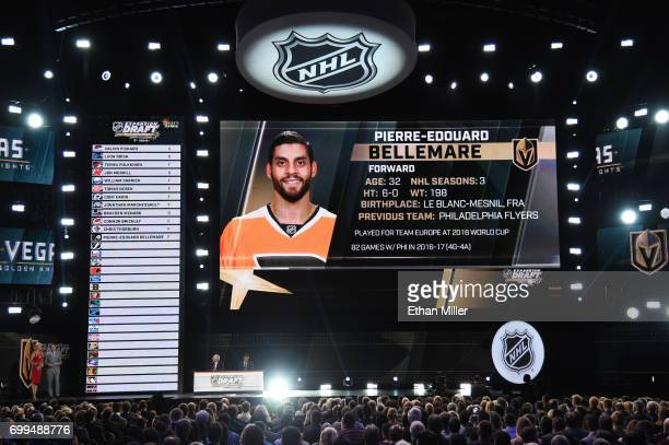 PierreEdouard Bellemare is selected by the Las Vegas Golden Knights during the 2017 NHL Awards and Expansion Draft at TMobile Arena on June 21 2017...