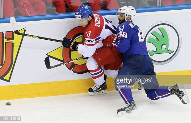 PierreEdouard Bellemare of France and Vladimir Sobotka of Czech Republic in action during the 2014 IIHF World Championship between France and Czech...