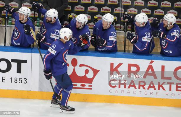 PierreEdouard Bellemare of France during the 2017 IIHF Ice Hockey World celebrate his goal Championship game between Finland and France at...