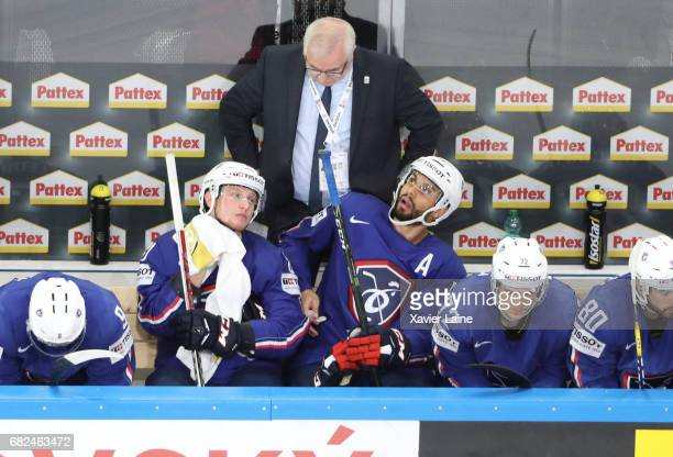 PARIS FRANCE MAY PierreEdouard Bellemare of France reacts during the 2017 IIHF Ice Hockey World Championship game between France and Belarus at...
