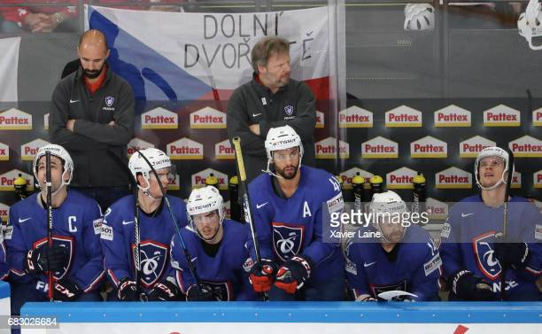 PierreEdouard Bellemare of France reacts during the 2017 IIHF Ice Hockey World Championship game between France and Czech Republic at AccorHotels...
