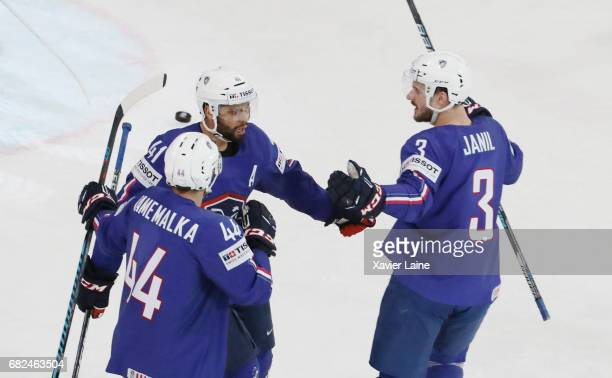 PierreEdouard Bellemare of Francecelebrate his goal with teammattes during the 2017 IIHF Ice Hockey World Championship game between France and...