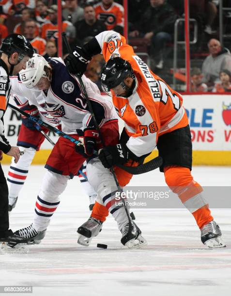 PierreEdouard Bellemare of the Philadelphia Flyers battles for the puck on a faceoff against William Karlsson of the Columbus Blue Jackets on April 8...