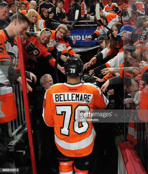 PierreEdouard Bellemare of the Philadelphia Flyers greets his fans while leaving the ice surface after a 43 shootout loss to the Carolina Hurricanes...