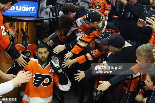 PierreEdouard Bellemare of the Philadelphia Flyers heads out for warmups prior to the game against the Columbus Blue Jackets at the Wells Fargo...