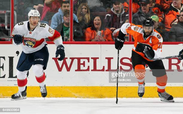 PierreEdouard Bellemare of the Philadelphia Flyers in action against Michael Matheson of the Florida Panthers on March 2 2017 at the Wells Fargo...