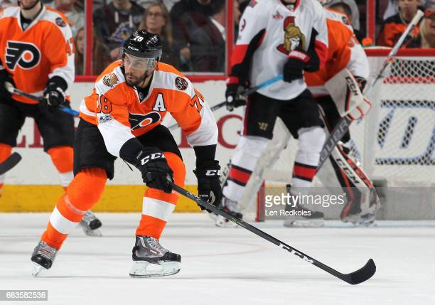 PierreEdouard Bellemare of the Philadelphia Flyers in action against the Ottawa Senators on March 28 2017 at the Wells Fargo Center in Philadelphia...