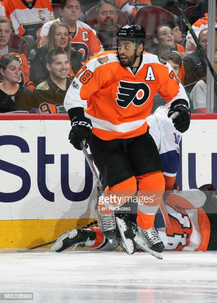 PierreEdouard Bellemare of the Philadelphia Flyers in action against the New York Islanders on March 30 2017 at the Wells Fargo Center in...