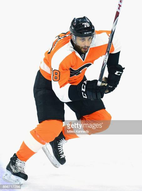 PierreEdouard Bellemare of the Philadelphia Flyers plays in a game against the Washington Capitals at Wells Fargo Center on January 8 2015 in...
