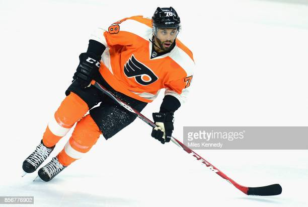 PierreEdouard Bellemare of the Philadelphia Flyers plays in a game against the Winnipeg Jets at Wells Fargo Center on January 29 2015 in Philadelphia...