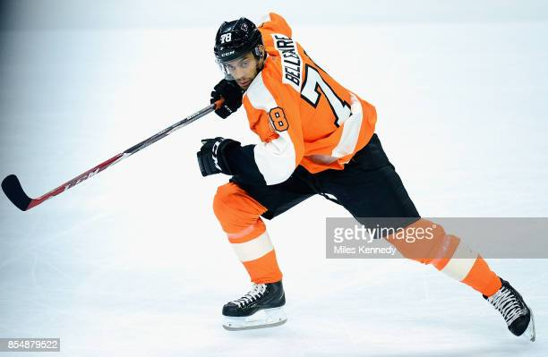 PierreEdouard Bellemare of the Philadelphia Flyers plays in the NHL game against the Tampa Bay Lightning at Wells Fargo Center on December 16 2014 in...