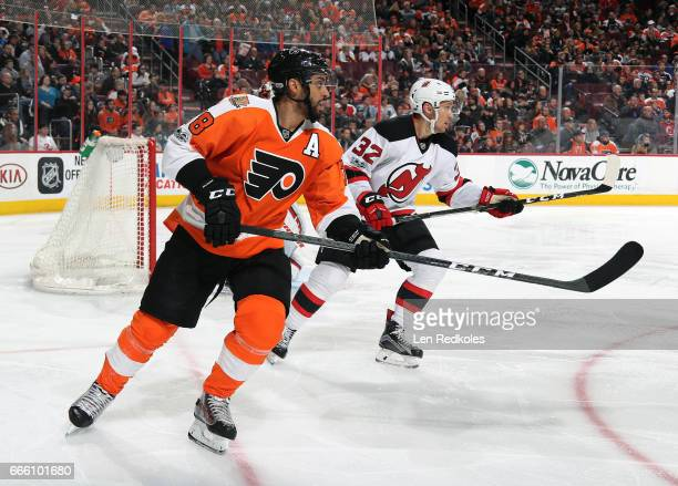 PierreEdouard Bellemare of the Philadelphia Flyers skates against Michael Kapla of the New Jersey Devils on April 1 2017 at the Wells Fargo Center in...