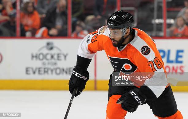 PierreEdouard Bellemare of the Philadelphia Flyers skates against the Washington Capitals on February 22 2017 at the Wells Fargo Center in...