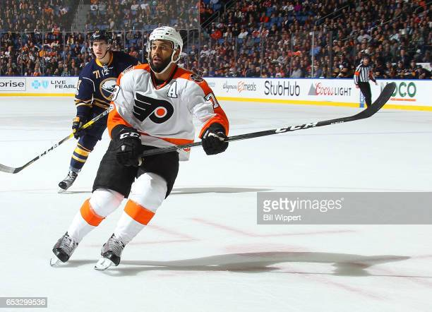 PierreEdouard Bellemare of the Philadelphia Flyers skates against the Buffalo Sabres during an NHL game at the KeyBank Center on March 7 2017 in...