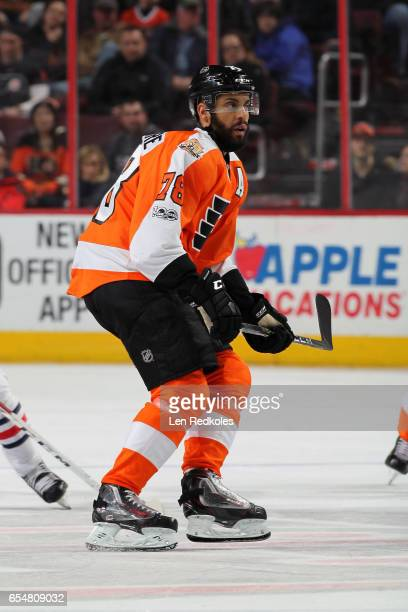 PierreEdouard Bellemare of the Philadelphia Flyers skates against the Columbus Blue Jackets on March 13 2017 at the Wells Fargo Center in...