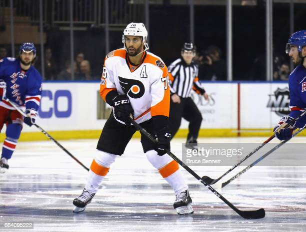 PierreEdouard Bellemare of the Philadelphia Flyers skates against the New York Rangers at Madison Square Garden on April 2 2017 in New York City The...