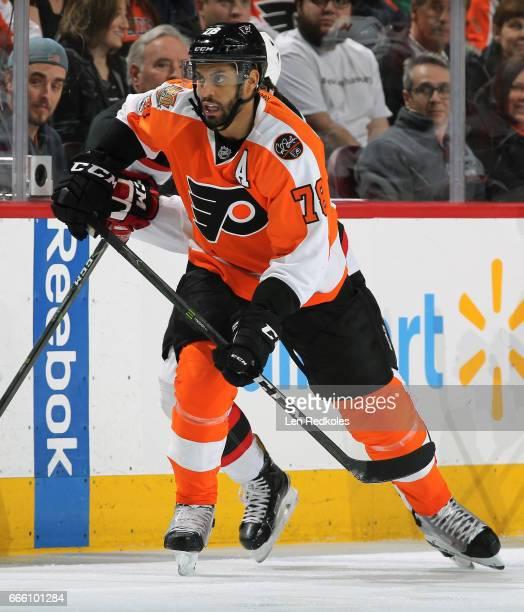 PierreEdouard Bellemare of the Philadelphia Flyers skates against the New Jersey Devils on April 1 2017 at the Wells Fargo Center in Philadelphia...