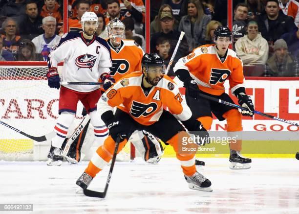 PierreEdouard Bellemare of the Philadelphia Flyers skates against the Columbus Blue Jackets at the Wells Fargo Center on April 8 2017 in Philadelphia...