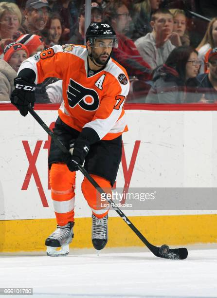 PierreEdouard Bellemare of the Philadelphia Flyers skates the puck against the New Jersey Devils on April 1 2017 at the Wells Fargo Center in...