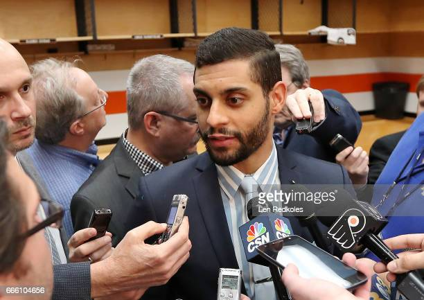 PierreEdouard Bellemare of the Philadelphia Flyers speaks to the media after defeating the New Jersey Devils 30 on April 1 2017 at the Wells Fargo...