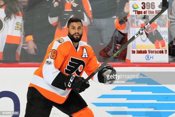 PierreEdouard Bellemare of the Philadelphia Flyers warms up prior to his game against the Florida Panthers on March 2 2017 at the Wells Fargo Center...