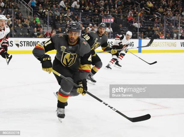 PierreEdouard Bellemare of the Vegas Golden Knights skates against the Arizona Coyotes during the Golden Knights' inaugural regularseason home opener...