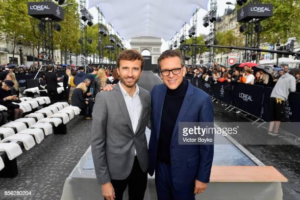PierreEmanuel Angeloglou and Alexis Perakis Valat attend Le Defile L'Oreal Paris as part of Paris Fashion Week Womenswear Spring/Summer 2018 at...