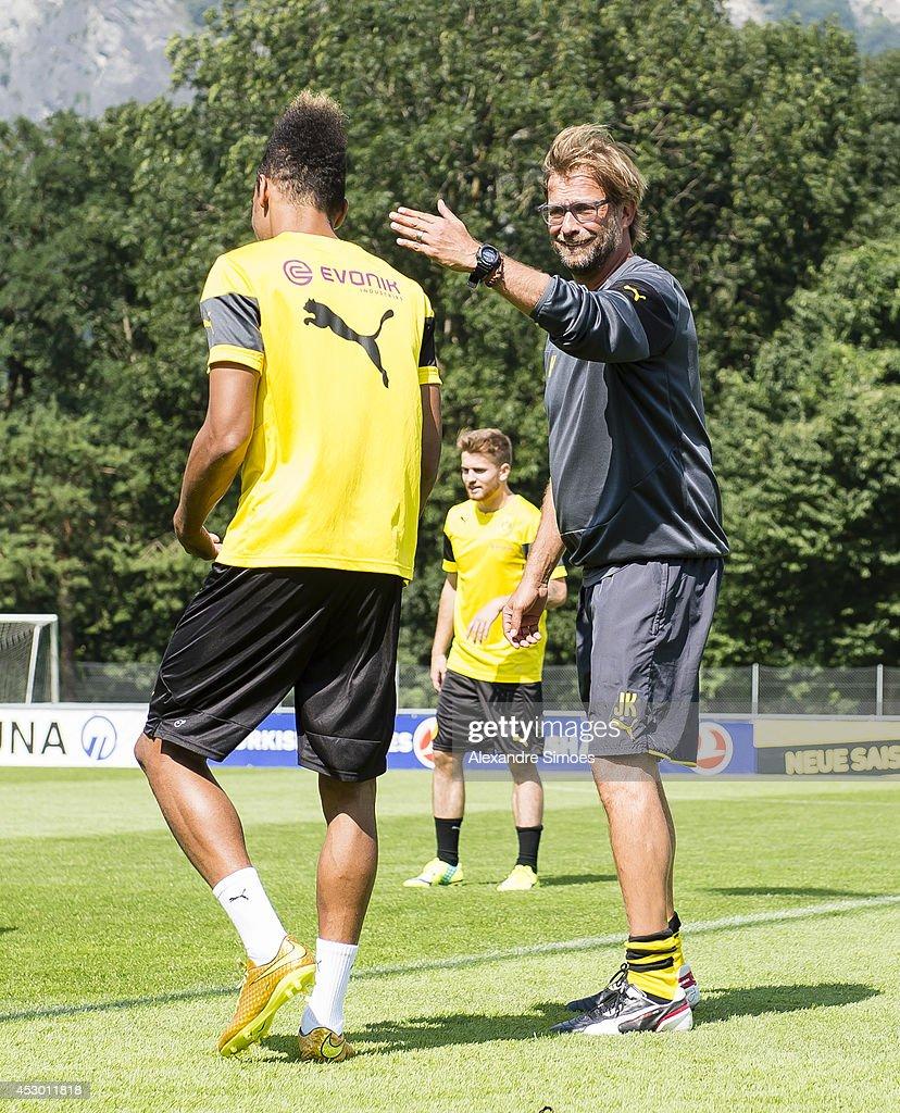 Pierre-Emerick Aubameyang (BVB) and Head coach Juergen Klopp (BVB) of Borussia Dortmund during a training session in the Borussia Dortmund training camp on July 31, 2014 in Bad Ragaz, Switzerland.