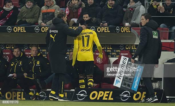 PierreEmerick Aubameyang and head coach Thomas Tuchel of Borussia Dortmund during the Bundesliga match between 1 FSV Mainz 05 and Borussia Dortmund...