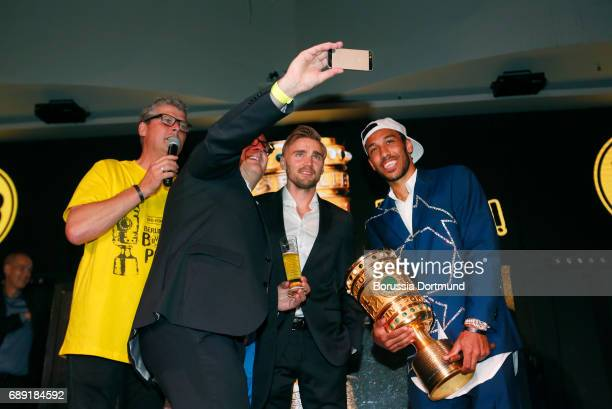 PierreEmerick Aubameyang and Marcel Schmelzer of Borussia Dortmund during the Borussia Dortmund Champions Party on May 27 2017 in Berlin Germany