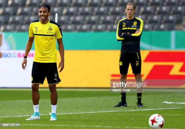 PierreEmerick Aubameyang and Thomas Tuchel of Dortmund look on during the final training session one day before the DFB Cup Final 2017 at...