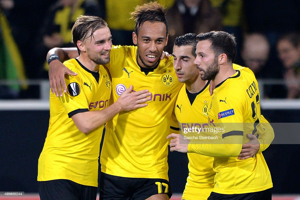 <a gi-track='captionPersonalityLinkClicked' href=/galleries/search?phrase=Pierre-Emerick+Aubameyang&family=editorial&specificpeople=6344916 ng-click='$event.stopPropagation()'>Pierre-Emerick Aubameyang</a> (2-L) celebrates with team mates <a gi-track='captionPersonalityLinkClicked' href=/galleries/search?phrase=Marcel+Schmelzer&family=editorial&specificpeople=5443925 ng-click='$event.stopPropagation()'>Marcel Schmelzer</a> (L), <a gi-track='captionPersonalityLinkClicked' href=/galleries/search?phrase=Henrikh+Mkhitaryan&family=editorial&specificpeople=6234732 ng-click='$event.stopPropagation()'>Henrikh Mkhitaryan</a> (2-R) and <a gi-track='captionPersonalityLinkClicked' href=/galleries/search?phrase=Gonzalo+Castro&family=editorial&specificpeople=605388 ng-click='$event.stopPropagation()'>Gonzalo Castro</a> (R) of Dortmund after scoring his team's second goal during the UEFA Europa League group stage match between Borussia Dortmund and Qabala FK at Signal Iduna Park on November 5, 2015 in Dortmund, Germany.