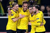 PierreEmerick Aubameyang celebrates with team mates Marcel Schmelzer Henrikh Mkhitaryan and Gonzalo Castro of Dortmund after scoring his team's...