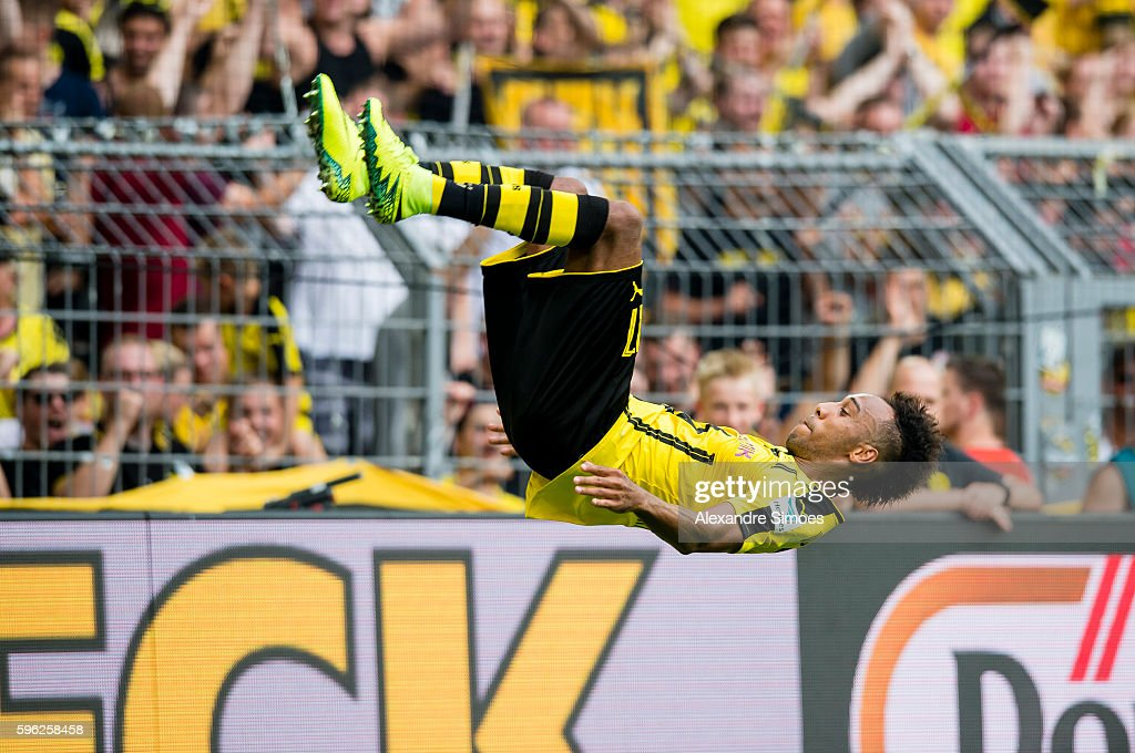 Pierre-Emerick Aubameyang cheers after scoring his team's 2nd goal during the Bundesliga match between Borussia Dortmund and 1. FSV Mainz 05 at Signal Iduna Park on August 27, 2016 in Dortmund, Germany.