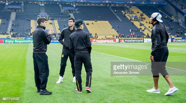 PierreEmerick Aubameyang Christian Pulisic and Mikel Merino of Borussia Dortmund on the pitch at the stadium prior to the UEFA Champions League...
