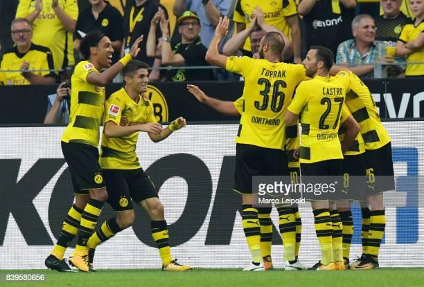 PierreEmerick Aubameyang Christian Pulisic Oemer Toprak Gonzalo Castro and Lukasz Piszczek of Borussia Dortmund celebrate after scoring the 20 during...