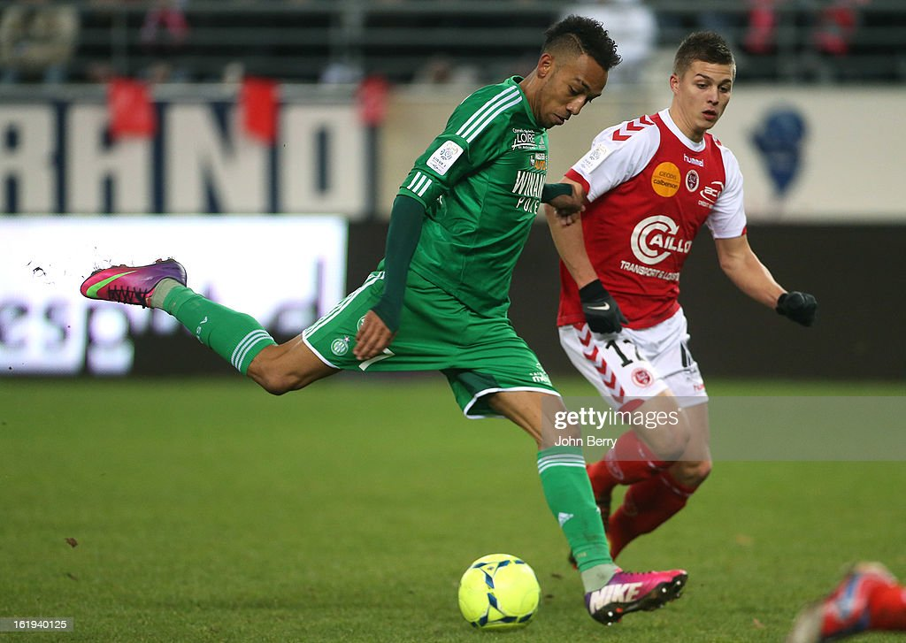 Pierre-Emerick Aubameyang of ASSE in action during the french Ligue 1 match between Stade de Reims and AS Saint-Etienne at the Stade Auguste Delaune on February 17, 2013 in Reims, France.