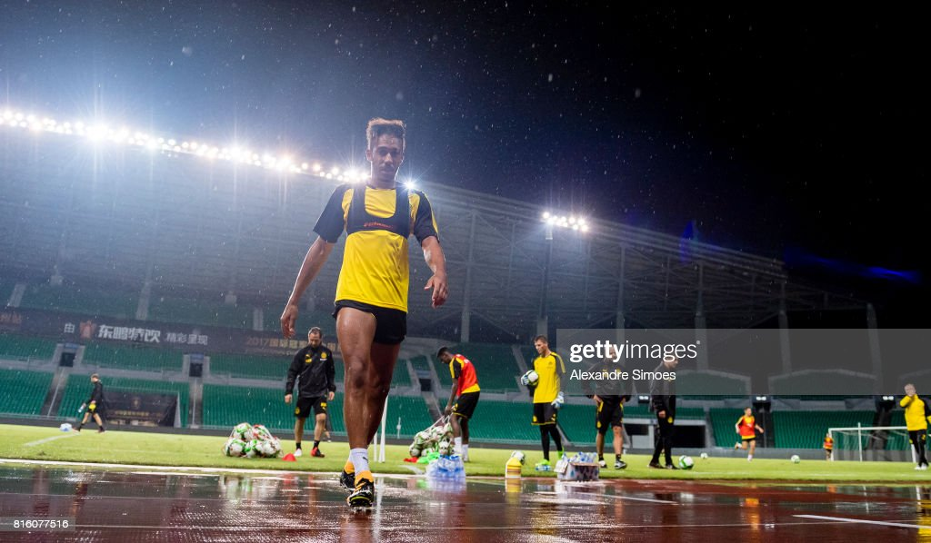 Pierre-Emerick Aubameyang of Borussia Dortmund after a training session during the Borussia Dortmund Asian Summer Tour on July 17, 2017 in Guangzhou, China.