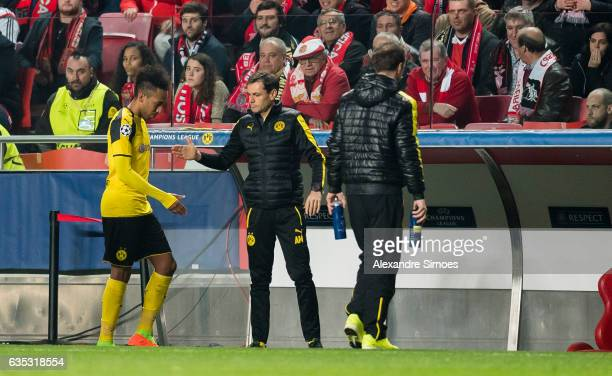 PierreEmerick Aubameyang of Borussia Dortmund after he left the field during the UEFA Champions League Round of 16 First Leg match between SL Benfica...