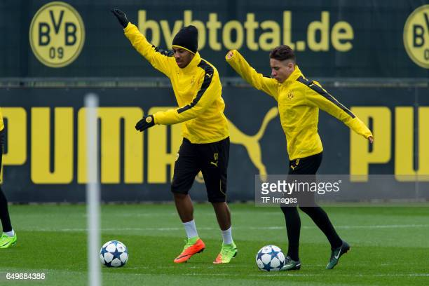 PierreEmerick Aubameyang of Borussia Dortmund and Emre Mor of Borussia Dortmund prepares prior the training of Borussia Dortmund ahead of the UEFA...