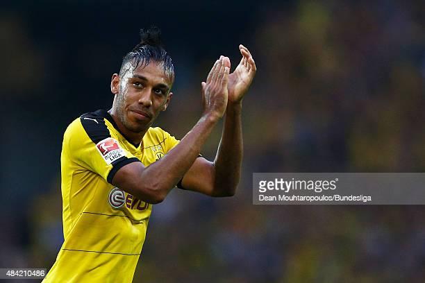 PierreEmerick Aubameyang of Borussia Dortmund applaudes the fans during the Bundesliga match between Borussia Dortmund and Borussia Moenchengladbach...